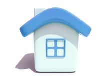 Eenvoudig 3D huis met blauw dak Stock Afbeelding