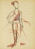 Eenvoudig ballerina, het trekken Royalty-vrije Stock Foto