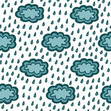 Eenvoudig blauw wolken naadloos patroon Stock Foto