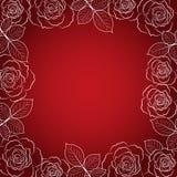 Eenvoudig bloemenkader in wit op rode achtergrond vector illustratie