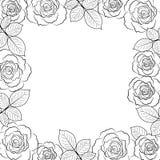 Eenvoudig bloemenkader in zwarte op wit vector illustratie
