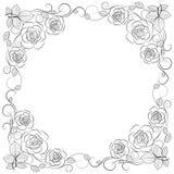 Eenvoudig bloemenkader in zwarte op wit royalty-vrije illustratie
