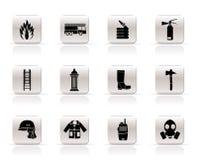Eenvoudig brand-brigade en brandweermanapparatuur pictogram Royalty-vrije Stock Foto