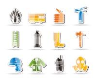 Eenvoudig brand-brigade en brandweermanapparatuur pictogram Stock Afbeeldingen