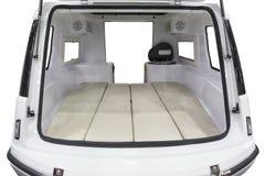 Eenvoudig caravan achterbinnenland op geïsoleerd wit stock afbeeldingen