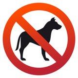 Eenvoudig, cirkel, ` Geen huisdieren toegestaan `-teken Rode gradiënt, zwart silhouet stock illustratie