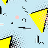 Eenvoudig de jaren '80patroon van Memphis Geometrisch de stijl abstract art. van de hipstermanier jaren '90decoratie met driehoek Royalty-vrije Stock Fotografie