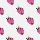 Eenvoudig de zomerpatroon met roze aardbeien Stock Foto's