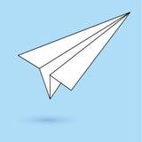Eenvoudig document vliegtuigpictogram Stock Foto
