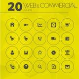 Eenvoudig dun Web en commerciële pictogrammeninzameling Stock Afbeeldingen