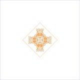 Eenvoudig embleem met abstract krullend symbool voor yogastudio of yogainstructeur Bedrijf Logo Design Vector Royalty-vrije Stock Afbeeldingen