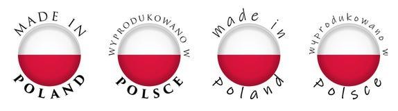Eenvoudig Gemaakt in het poetsmiddeltranslati van Polen/van Wyprodukowano w Polsce vector illustratie