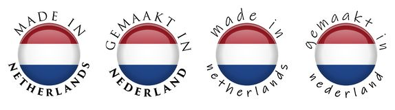 Eenvoudig Gemaakt in Nederland/Gemaakt in van Vertaal nederland Nederlands 3D knoopteken Tekst rond cirkel met naitionalvlag Dece stock illustratie