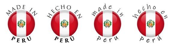 Eenvoudig Gemaakt in van Vertaal Peru Spaans 3D knoopteken Tekst AR stock illustratie
