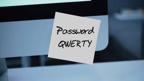 Eenvoudig, gemakkelijk wachtwoord qwerty De veiligheid van de computer Rekening het binnendringen in een beveiligd computersystee stock illustratie