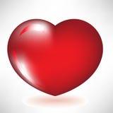 Eenvoudig glanzend rood hart Royalty-vrije Stock Afbeelding