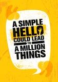 Eenvoudig Hello kon tot Miljoen Dingen leiden Het inspireren Creatief de Affichemalplaatje van het Motivatiecitaat Stock Foto's