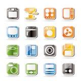 Eenvoudig Huis en Bureau, de Pictogrammen van de Apparatuur Stock Fotografie