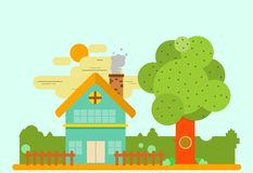 Eenvoudig huis in vlak ontwerp stock illustratie
