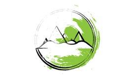 Eenvoudig Illustratie van Bergen in de Cirkel - Wit, Zwart en Groen met Textuur Ontworpen als Illustratie voor Royalty-vrije Stock Fotografie