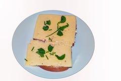 Eenvoudig kaasbrood met verse kruiden royalty-vrije stock afbeelding