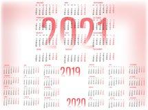 Eenvoudig Kalendermalplaatje voor 2019, 2020 en 2021 De week begint van Maandag royalty-vrije stock afbeeldingen