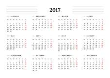 Eenvoudig Kalendermalplaatje voor het Jaar van 2017 Stock Foto
