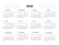 Eenvoudig Kalendermalplaatje voor het Jaar van 2018 Stock Fotografie