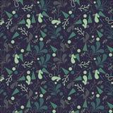 Eenvoudig leuk naadloos patroon in lichtgroene bladeren Ornament met bladeren stock illustratie