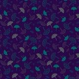 Eenvoudig leuk naadloos patroon met donkere beige en groene en lilac bladeren Ornament met bladeren Bloemen naadloze achtergrond  Royalty-vrije Stock Fotografie