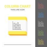 Eenvoudig lijn gestreken grafiek of grafiek vectorpictogram Stock Foto's