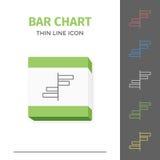 Eenvoudig lijn gestreken grafiek of grafiek vectorpictogram Stock Afbeeldingen