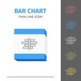 Eenvoudig lijn gestreken grafiek of grafiek vectorpictogram Stock Afbeelding