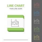 Eenvoudig lijn gestreken grafiek of grafiek vectorpictogram Royalty-vrije Stock Foto