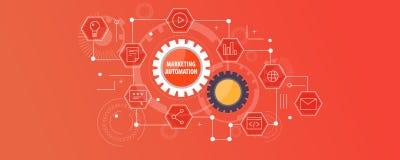 Eenvoudig marketing automatiseringsconcept Vlakke ontwerp vectorbanner royalty-vrije illustratie