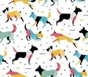 Eenvoudig modern patroon met honden in de stijl van Memphis Royalty-vrije Stock Foto