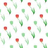 Eenvoudig naadloos die patroon van tulpen en bloemsilhouetten op een witte achtergrond worden geïsoleerd vector illustratie