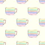 Eenvoudig naadloos patroon met multicolored theekopjes Royalty-vrije Stock Afbeelding