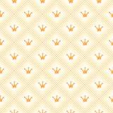 Eenvoudig naadloos vectorpatroon met kroon Sinaasappel Stock Afbeeldingen