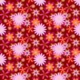 Eenvoudig naadloze roze bloemen op donkere achtergrond Stock Afbeelding