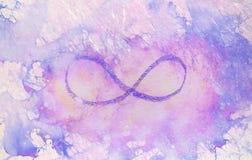 Eenvoudig symbool van eeuwigheid, potlood die op abstracte achtergrond trekken stock illustratie