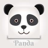 Eenvoudig teken een panda - ontwerpmalplaatje op zwarte achtergrond Stock Afbeelding