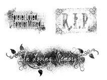 Eenvoudig van de de Grafzerkherinnering van Grunge Herdenkingsword Art Stamps Royalty-vrije Stock Afbeeldingen