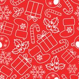 Eenvoudig vector naadloos Kerstmispatroon op rode achtergrond stock fotografie