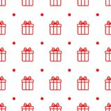 Eenvoudig vector naadloos patroon met Kerstmisgiften op witte achtergrond royalty-vrije stock foto's