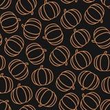 Eenvoudig vector naadloos patroon met pompoenen op zwarte achtergrond stock afbeelding