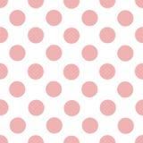 Eenvoudig vector naadloos patroon van lichtrose roze cirkels op een witte achtergrond stock foto