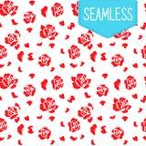 Eenvoudig vectorpatroon met rode bloemen Stock Fotografie
