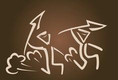 Eenvoudig Vectorsilhouet van jagers met spear royalty-vrije illustratie