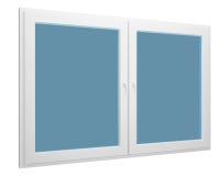 Eenvoudig venster dat over wit wordt geïsoleerdj Stock Fotografie